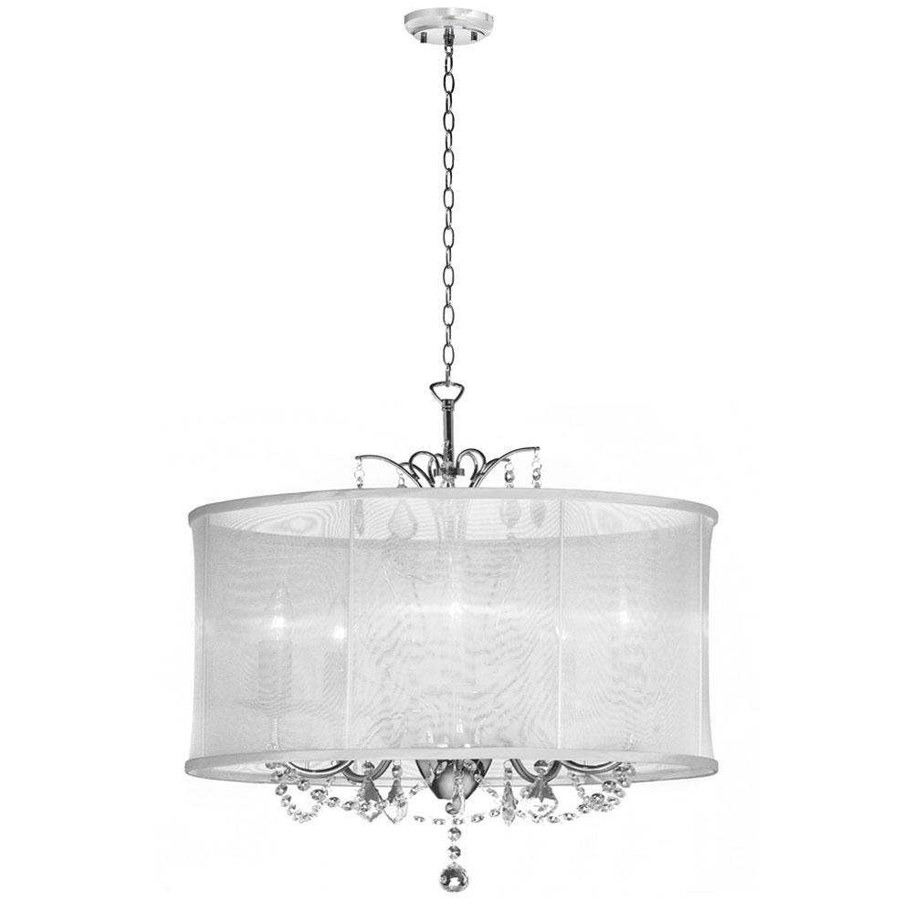 Six light chrome drum shade chandelier vna 25 6 119 for 6 light crystal chandelier