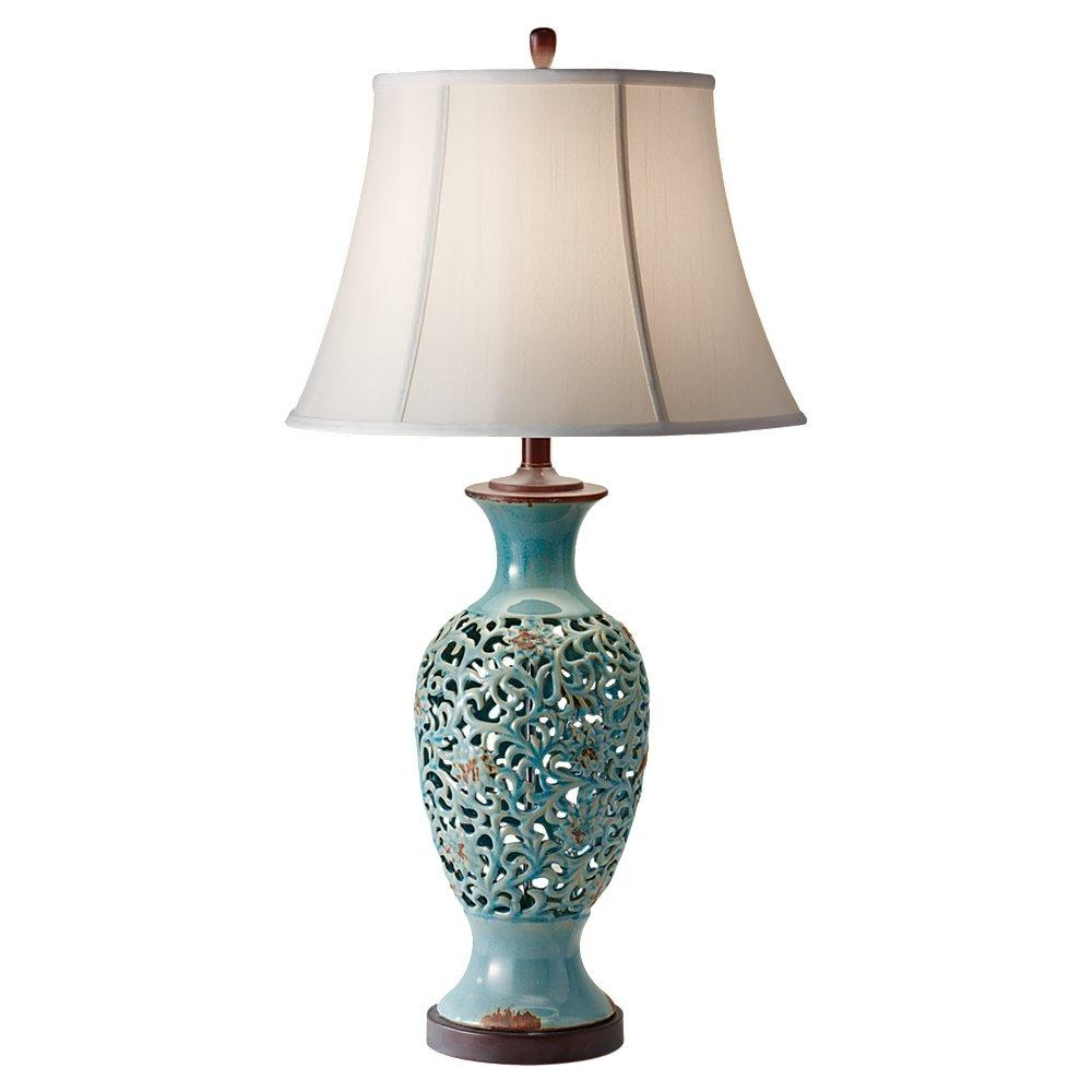 10156per one light persian turqouise off white silk shade table lamp. Black Bedroom Furniture Sets. Home Design Ideas