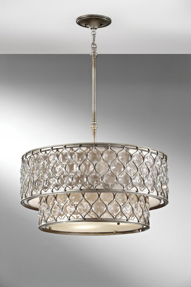 six light burnished silver linen fabric shade drum shade pendant