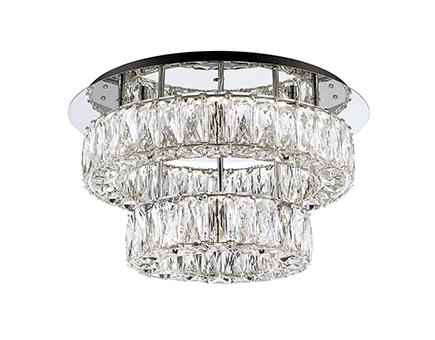 Two Tiered LED Semi-Flush Mount with Exquisite Diamond Cut Clear Crystals