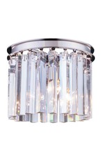 Elegant 1208F12PN/RC - 1208 Sydney Collection Flush Mount D:12in H:13in Lt:3 Polished nickel Finish (Royal Cut Crystals)