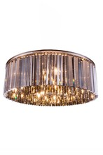 Elegant 1208F43PN-SS/RC - 1208 Sydney Collection Flush Mount D:43.5in H:13.5in Lt:10 Polished nickel Finish (Royal Cut Crystal