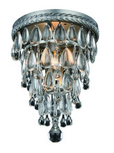 Elegant 1219F9AS/RC - 1219 Nordic Collection Flush Mount D:9in H:12in Lt:1 Antique Silver Finish (Royal Cut Crystals)